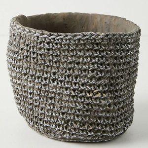 Anthropologie Woven Cement Pot